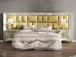 Chambre laquée  avec  tête de lit longue garnie. Mod. KOR FFK29
