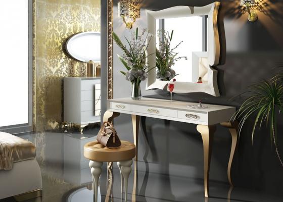Ensemble coiffeuse, miroir et banquette. Mod. GOLD