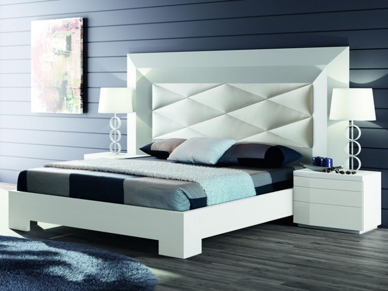 Chambre avec t te de lit garnie mod gordon blanco for Chambre garnie