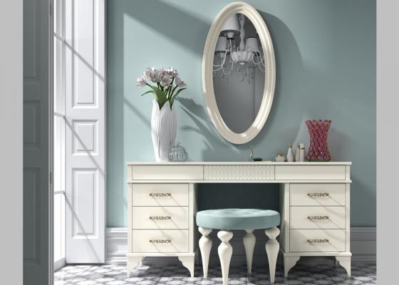Ensemble coiffeuse, miroir et banquette. Mod. GA0002
