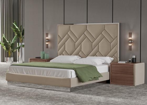 Chambre en bois de noyer , acier inox et tapissée. Mod. DORIANNE
