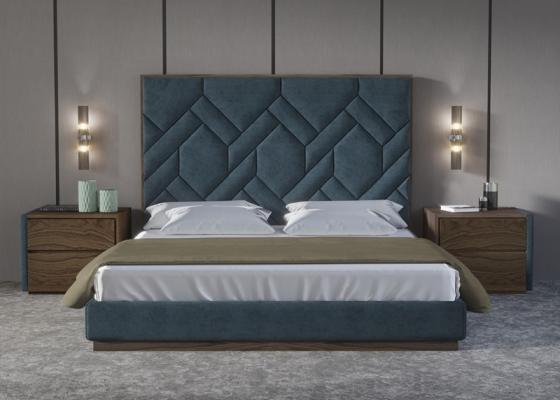 Chambre complet tapissé avec bois de noyer américain.Mod: DORIANNE NOYER