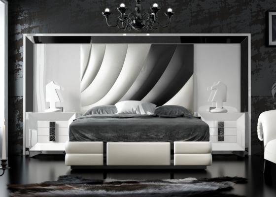 Chambre laquée et tapissé avec une tête de lit XXL. Mod. MELIA
