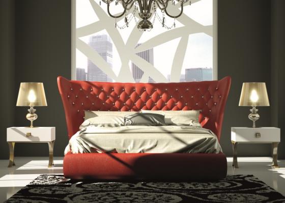 Chambre laquée et tapissée avec capitonné en verre de Swarovki. Mod. GOLDA