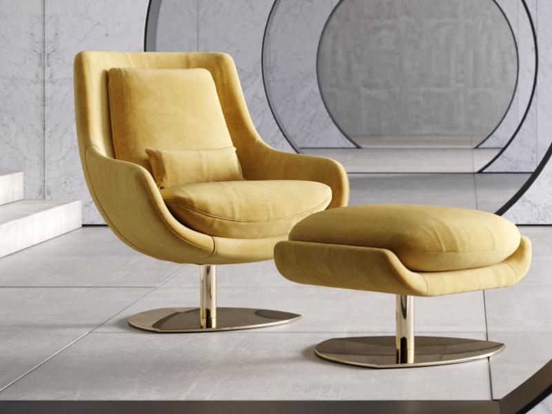 Ensemble fauteuil  pivotant et relax et pouf.Mod: TELVA