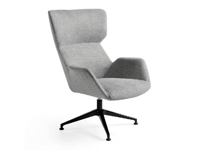 Ensemble fauteuil pivotant et pouf. Mod. ADELE