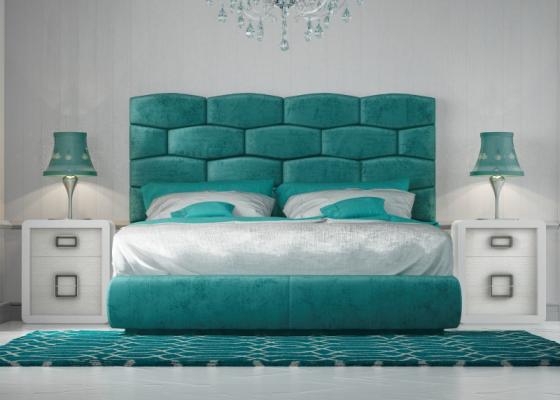 Chambre design tapissée avec tour de lit tapissée.Mod: KAELA