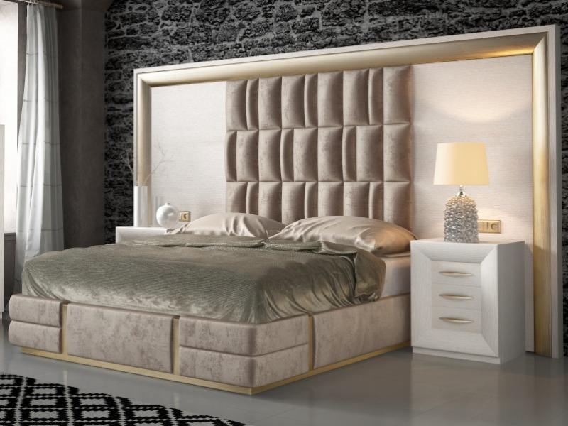 Chambre en ch�ne, laqu�e et tapiss�e. Mod. SIMA