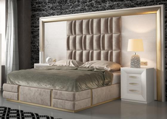 Chambre en chêne, laquée et tapissée. Mod. SIMA