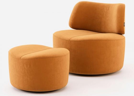 Ensemble fauteuil et pouf tapissés en velours. Mod. JOLIE