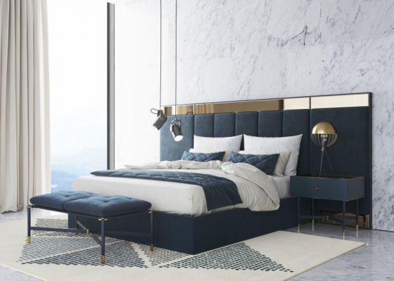 Chambre design tapissée en velours.Mod: MONSIEUR
