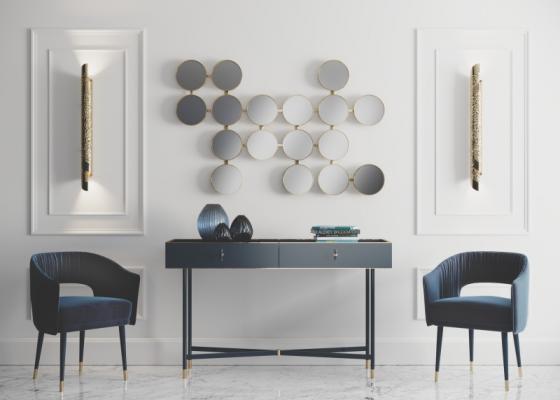 Ensemble console et miroir de design. Mod. MONSIEUR