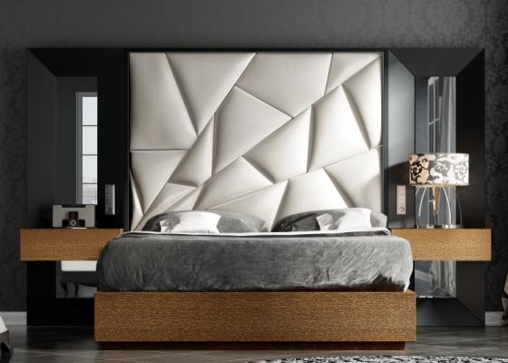Chambre de design tapissée et laquée.Mod: TAHIRA