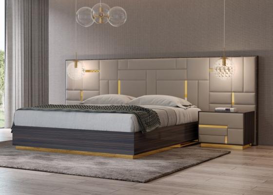 Chambre de design en bois d'ébène avec tète de lit tapissé et décorations en acier inox. Mod. SALMA