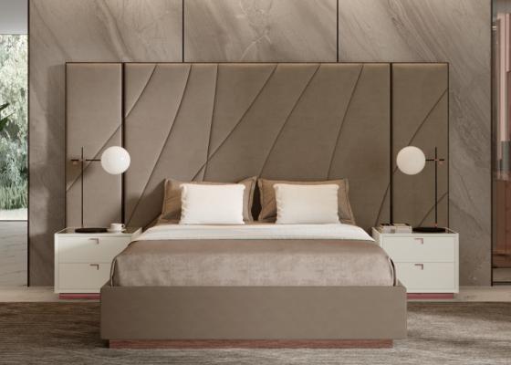 Chambre de design XXL tapissée avec encadrement en bois d'ébène. Mod. HIBA