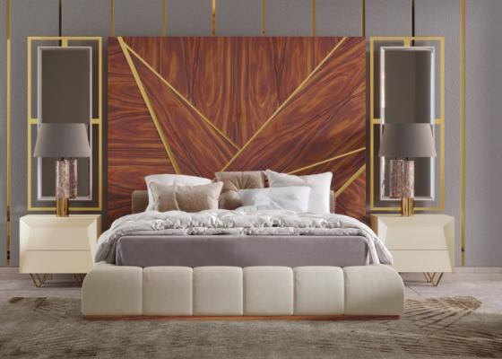 Chambre de design XXL tapissée avec tête de lit en bois avec décorations en acier inox et miroirs latéraux. Mod. ZURAH