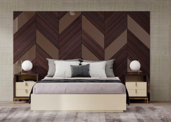 Chambre de design XXL en bois d'ébène avec miroirs couleur bronze. Mod. YASSIRA
