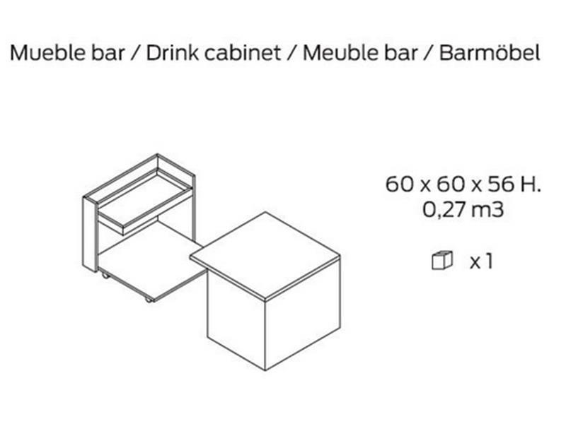 Bout de canap� meuble bar. Mod. JB