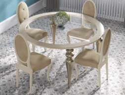Table à manger ronde avec plateau en verre. Mod. GA1212
