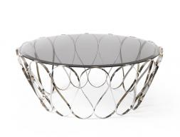 Table basse avec acier inox et plateau en verre. Mod. ACUARIO