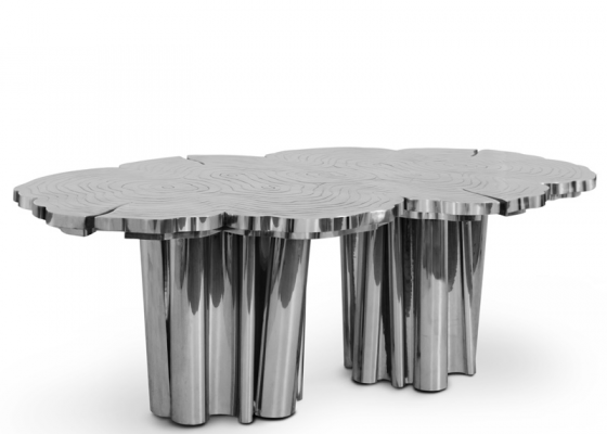 Table à manger en finition aluminium . Mod. FORTUNE ALUMINUM
