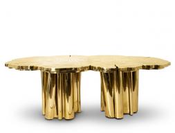 Table à manger en laiton doré. Mod. FORTUNE
