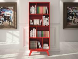 Etagère bibliothèque à 8 casiers, de style vintage. Mod. FRIDA