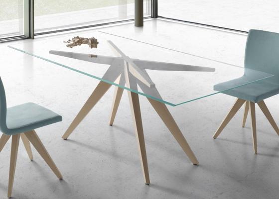 Table à manger fixe avec plateau en verre biseauté. Mod. NINO