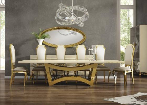 Table à manger fixe avec plateau bois . Mod. CHARLOTTE