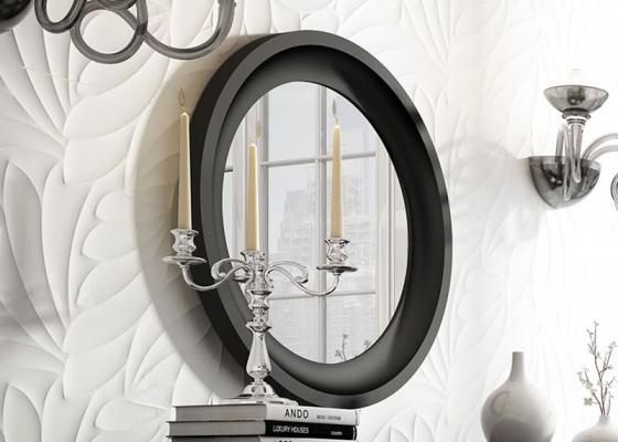 Miroir rond laqué. Mod: LAURA