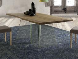 Table à manger fixe avec plateau en bois . Mod.GLASSY