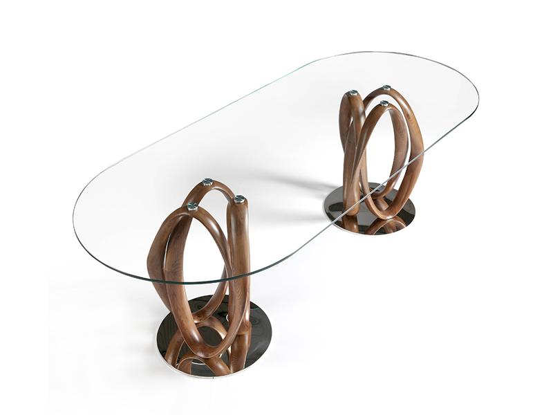 Table � manger fixe avec plateau en verre tremp�. Mod. DAMA
