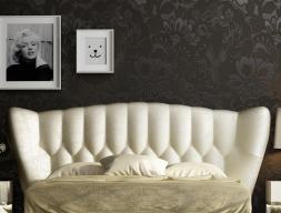 Tête de lit courbée tapissée avec capitonné. Réf.ZARAH