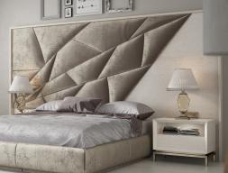 Tête de lit tapissée et en bois de chêne. Mod: NAUGE XXL