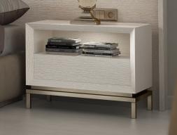 Table de nuit en bois de chêne à 1 tiroir et un caisson - ensemble de  2 unités. Mod. NAUGE