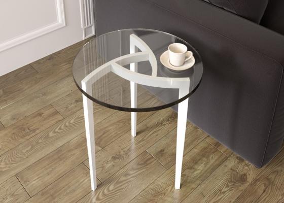 Table basse ronde d'angle en acier laqué. Mod. MULINELLI