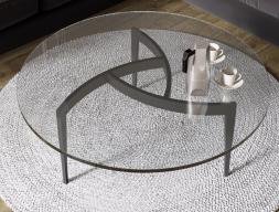 Table basse ronde avec acier laqué. Mod. MULINELLI