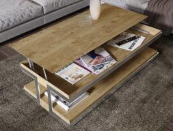 Table basse relevable en chêne. Mod. ABRACCIO RELEVABLE