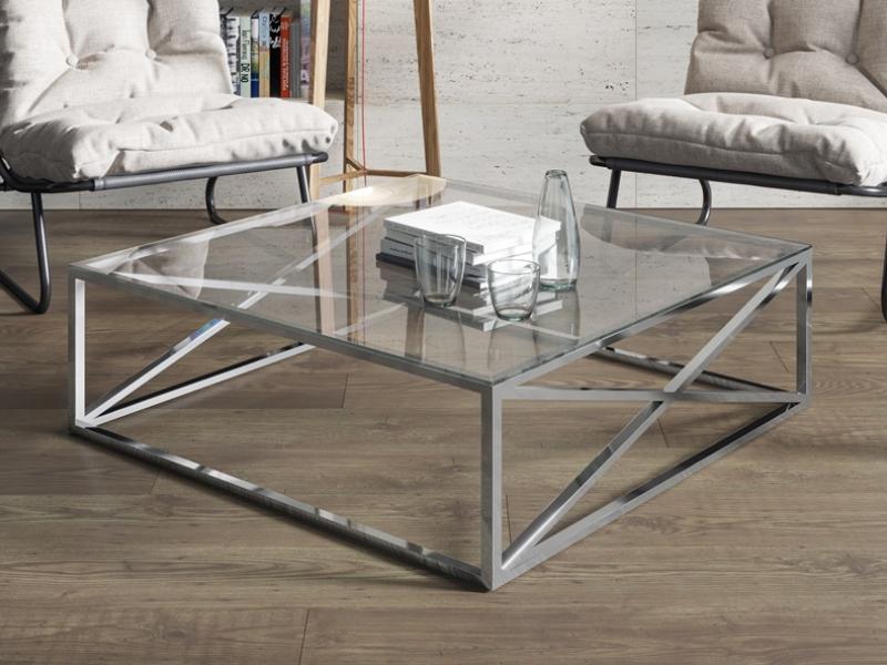 Table basse en acier chrom�. Mod.  RUSTY