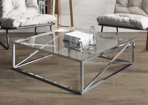 Table basse en acier chromé. Mod.  RUSTY