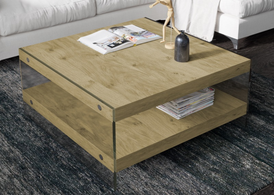 Table basse en bois et verre. Mod. MIAD