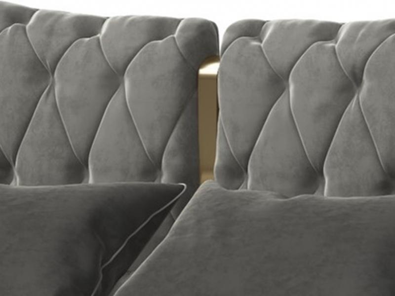 T�te de lit tapiss� et capitonn� avec d�coration centrale en acier inox. Mod: KAIPA