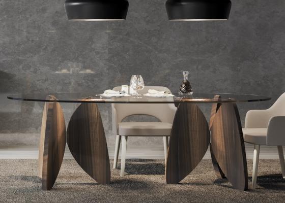Table fixe ovale avec plateau en verre. Mod. OSLO