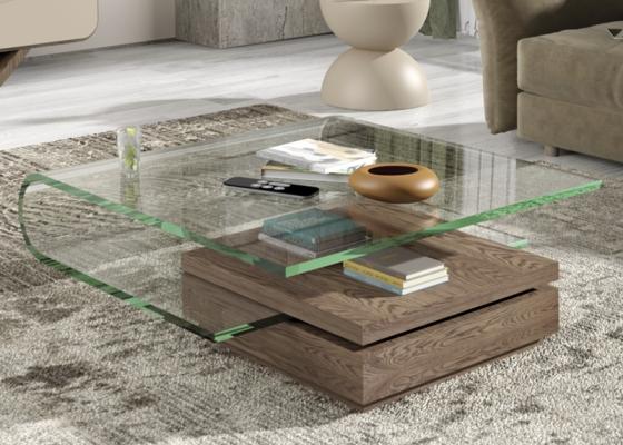 Table basse avec plateau en verre acrylique. Mod. DURBAN