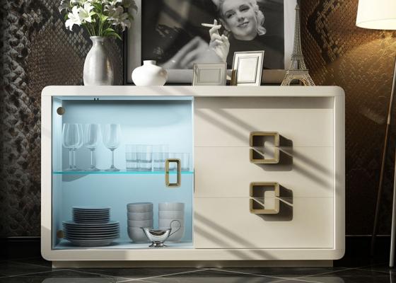 Buffet laqué avec porte en verre et tiroirs. Mod SOLEIL LACADO
