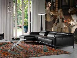 Canapé cuir avec chaise longue. Mod. STELLA-R NEGRO