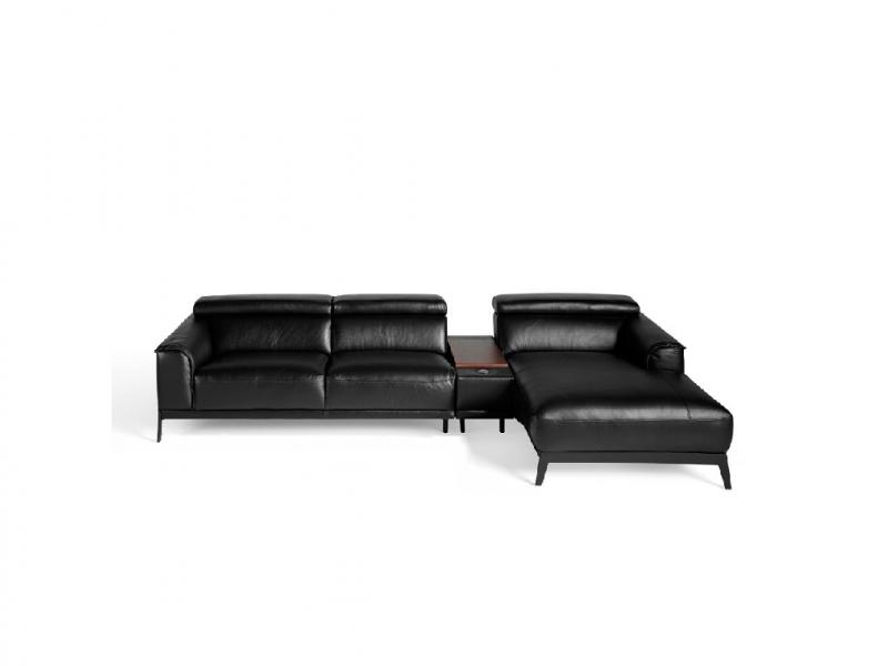 Canap� cuir synth�tique avec chaise longue. Mod. STELLA-L NEGRO