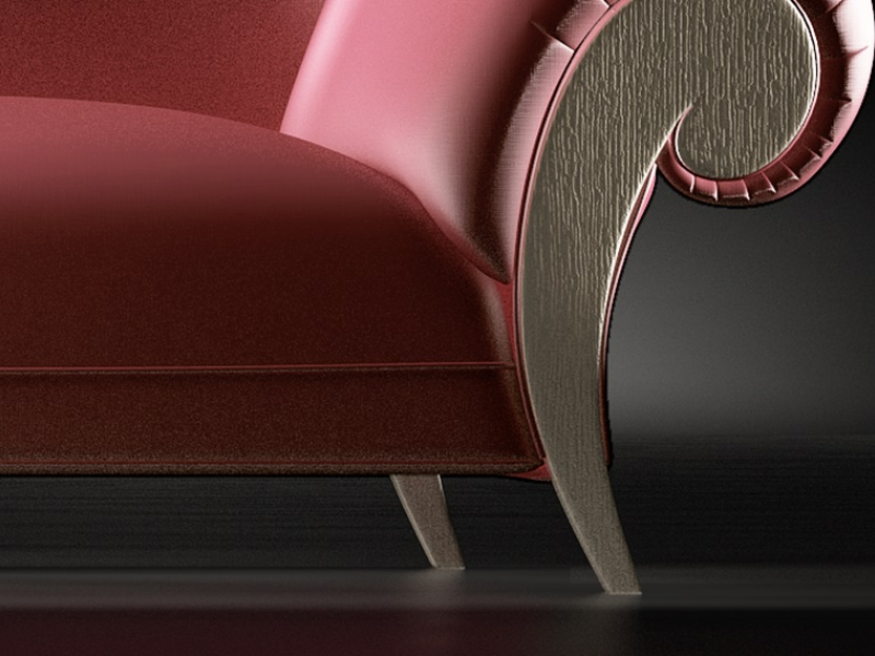Chaise longue tapiss�e. Mod. DALIDA CH�NE