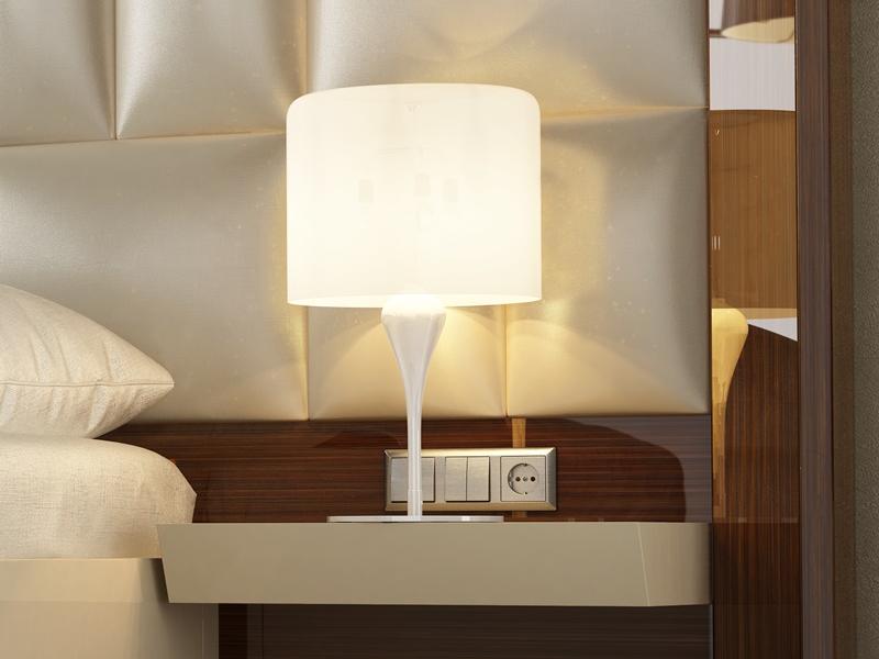 T�te de lit de grand format XXL tapiss�e et laqu�e avec 2 chevets �tag�res. Mod. SAHARA