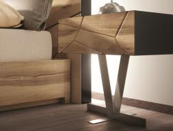 Chevets à un tiroir laqué avec façade tiroir en chêne et piétement métallique. Mod. WINDSOR